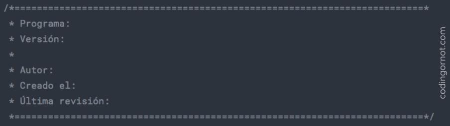 Formato de encabezado para datos de programador