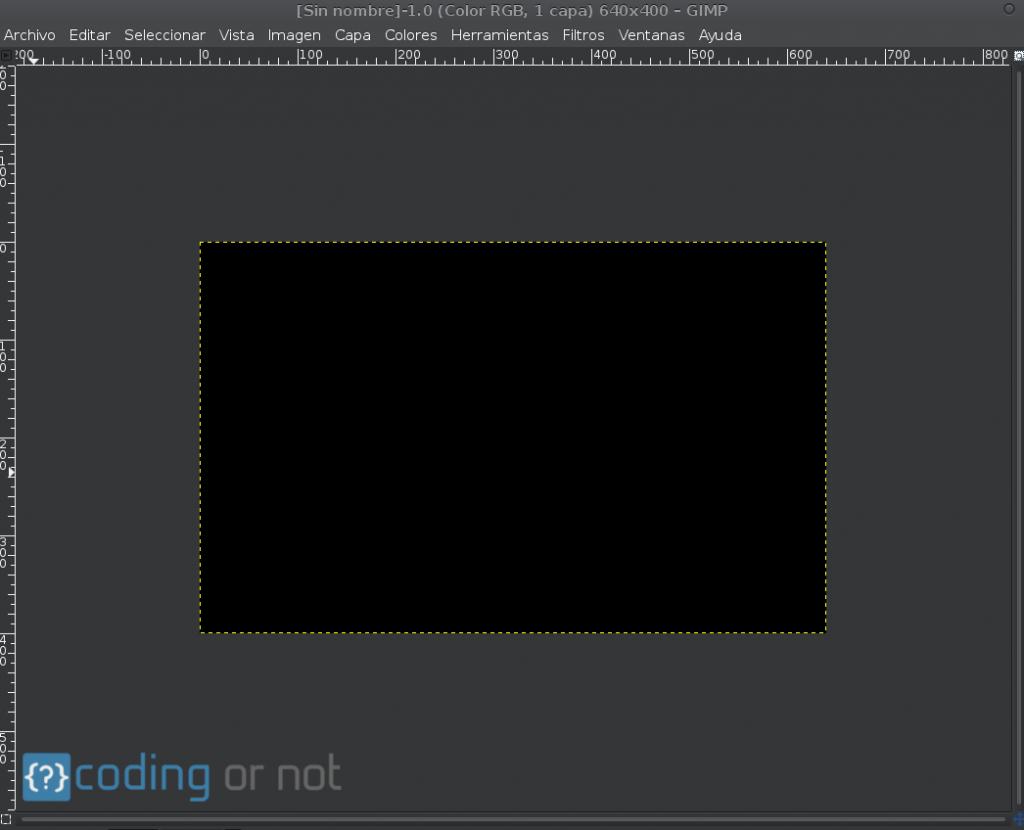 Lienzo color de frente GIMP