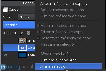 Alfa a selección GIMP