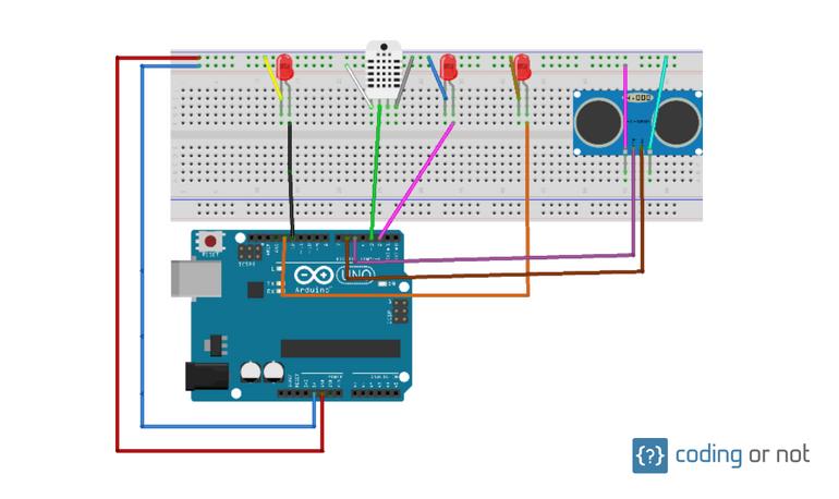 Diagrama de conexión de componentes de Arduino